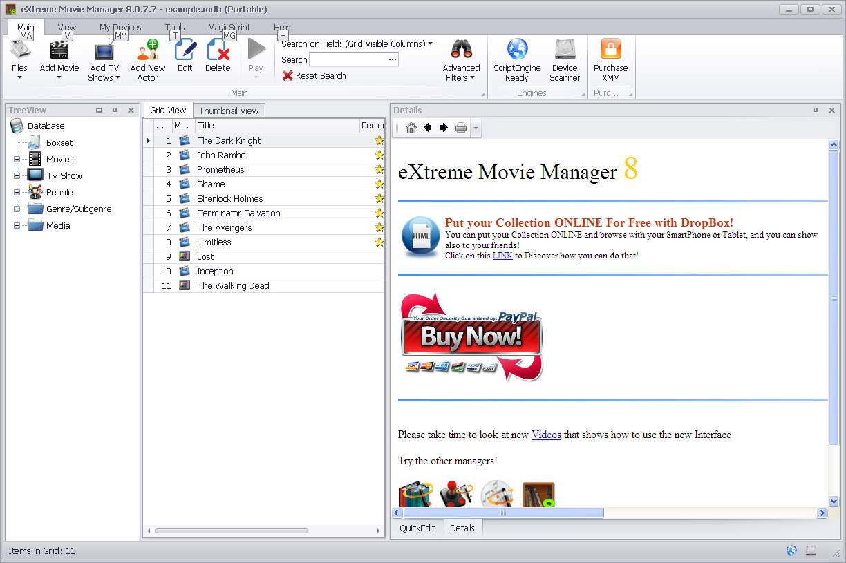 eXtreme Movie Manager 影片收藏工具
